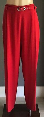 Vintage BY DESIGN Womens Red Belt at Waist Wide Leg Pants Size 16