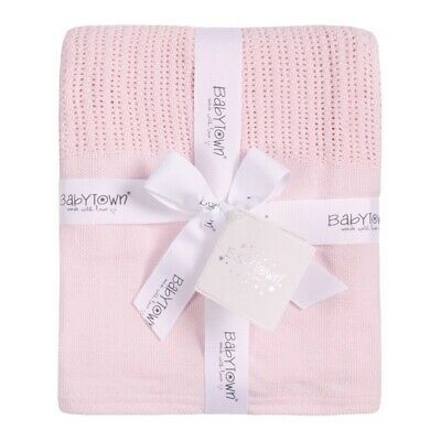 New Baby Heavy Knit Cellular Panel Blanket / Moses / Crib (70x110cm) PINK