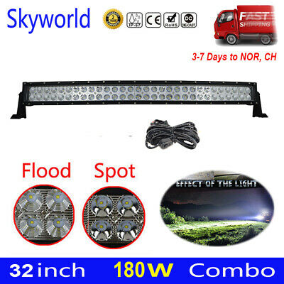 Curved 32 inch LED Work Light Bar 180W Flood Spot Combo Driving Offroad+Wiring