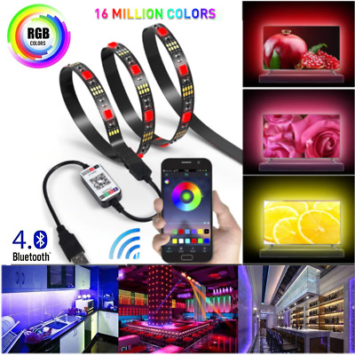Bluetooth APP Control RGB LED Strip Light USB Powered Car Lights Sync with music