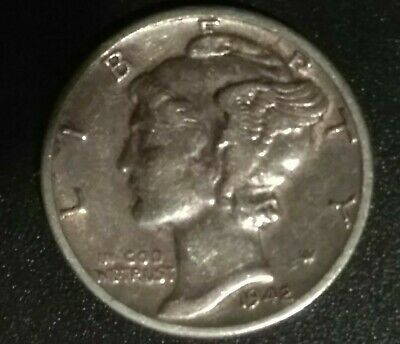 1942 United States US Mercury Dime 90% Silver - VF - Condition. Nice.