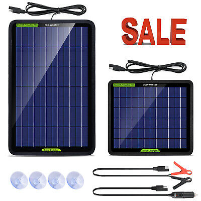 PORTABLE 5w 10w SOLAR PANEL 12v Trickle BATTERY CHARGER for Car Van Caravan Boat