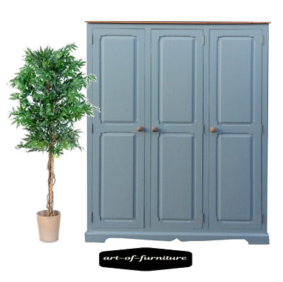 Grey and Rustic Pine Farmhouse 3 Door Wardrobe hand painted UPCYCLED