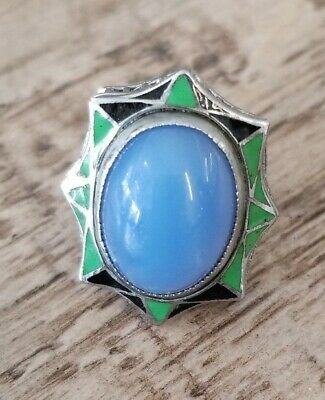 Antique Art Deco 925 Sterling Silver Enamel Filigree Blue Glass Ring Sz 5.5