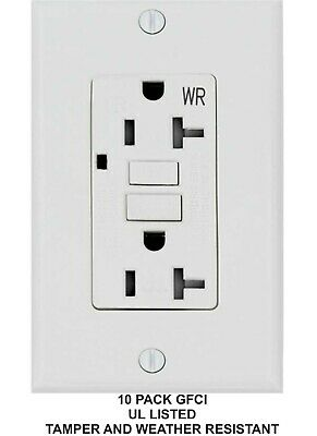 20 AMP GFCI (GFI) Receptacle Outlet -TAMPER RESISTANT TR WR WHITE UL (10PACK)