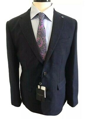 Ted Baker Unstructured Buggy Lined Midnight Blue Slim Fit Blazer Size 5 / 42R