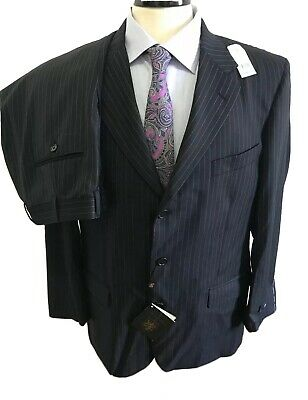 Brooks Brothers Saxxon Wool Navy Striped Madison 1818 Suit Size 42R 🔥 New 🔥