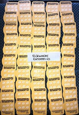 RESTOCKED!! 50 McDonalds Coffee Cards Loyalty Vouchers Stickers 12/20 McDonald's