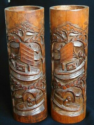 Pair of Antique 19C Chinese Carved Bamboo Brush or Temple Pots