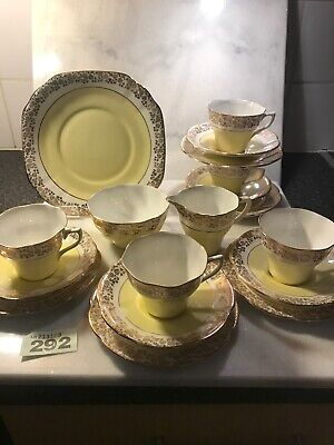 18pc Springfield Bone China Tea Cup Saucer Side Plate + More yellow Gold RARE