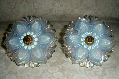 "Pair 4 1/2"" Large Firey Opalescent Sandwich Glass Curtain Tie Backs"