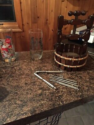 Vintage Wooden Wishing Well Nut Bowl Screw Nutcracker Barrel Style with tools