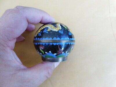 Small Antique Chinese Cloisonne Round Dragon Box 2""