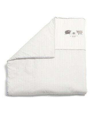 Mamas and Papas SHEEP AND ME White Neurtal Cot / Cot bed Coverlet Quilt