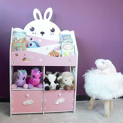 Kids Wood Composite Rabbit Cabinet Pink Shelving Display Bookcase Toy Storage