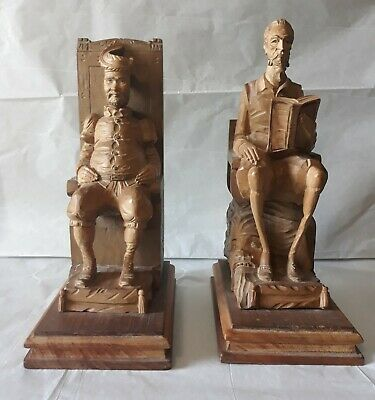 Bookends Don Quixote Sancho Panza Hand Carved Wood Vintage Book Ends Spanish