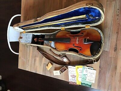 Antique German Violin 4/4  Vintage Fiddle Germany W/ Stone Case And Bow