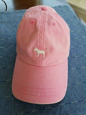 PINK Victoria's Secret Light Baseball Hat White Dog Logo Cotton Factory Fade