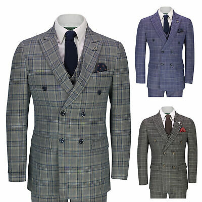Mens 3 Piece Double Breasted Check Suit Tailored Fit Retro Peaky Blinders Style