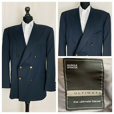 Marks & Spencer Mens Jacket Blazer Chest 48 Short Navy Blue Double Breasted