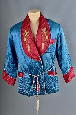 Vtg Men's 1950s Japanese Embroidered Smoking Jacket Medium 50s Quilted Robe