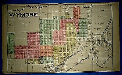 Vintage 1906 WYMORE Twp GAGE Co NE MAP Old Ancestry Genealogy Family History