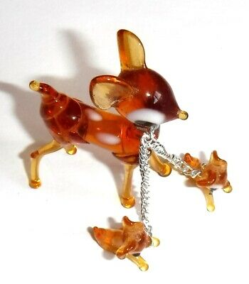 Vintage Miniature Blown Glass Figures, Animals, Deer and 2 Fawns, Murano Style