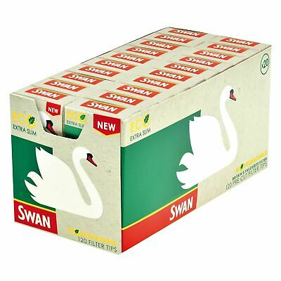Box of 20 Packs Swan Eco Extra Slim Filter Smoking Tips Free Tracked Delivery