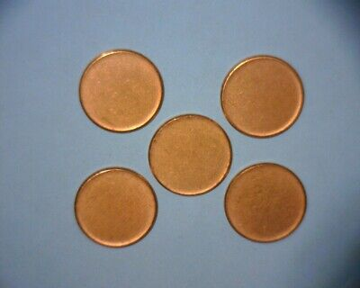 5 -Lincoln Cent Type Ii Planchet/ Unstruck Blanks, Clad Us Error Coin