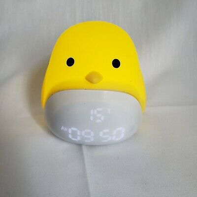 Yellow Chick Clock Light Sounds USB Soft Top Temperature Tabletop Small