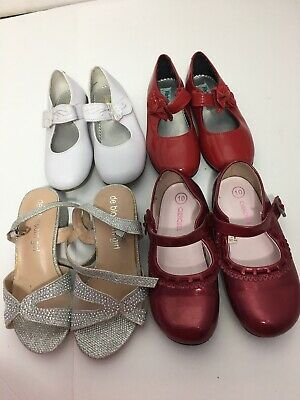 Lot of 4 Pairs of Girls Shoes red white , Sandals  silver size 10