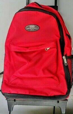 NEW Fake BALENCIAGA Rolling Backpack BB Red Canvas Carry Bag Luggage Travel Pack