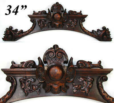 "Fine Antique Carved Walnut 34"" Furniture Cornice, Architectural Salvage, Figural"