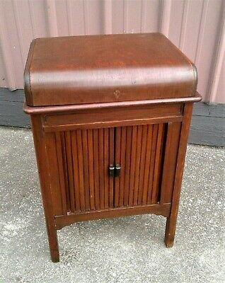 Antique Sewing Cabinet Stand with Tambor Front Doors and Lift Up Top Lid 1930s