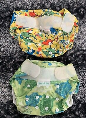 Bumkins Dr Seuss Sea Turtle Reusable Adjustable Pocket Cloth Diaper Lot Of 2