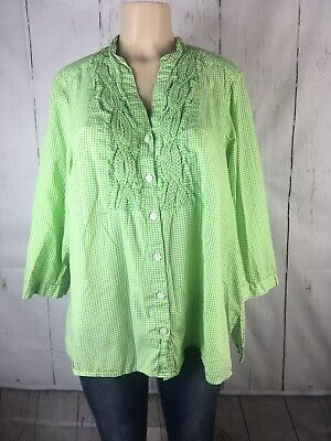 Charter Club Womens Green  Gingham Button Down Shirt Blouse Top Plus 18W