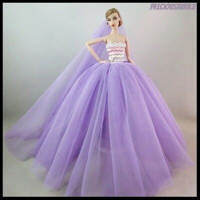 Brand New Barbie doll clothes outfit princess wedding purple dress & veil.