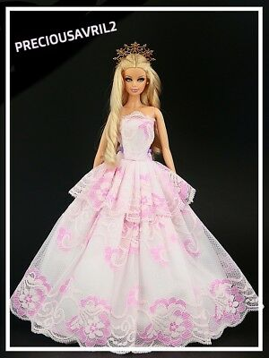 Brand new Barbie doll clothes outfit wedding pink/white lace evening dress