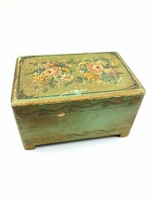 Vintage SHABBY Style Painted Wooden Box Chippy Paint Trinket Box Painted Flowers