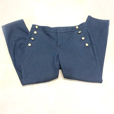 Banana Republic Avery Sailor Straight Cropped Ankle Pants Navy Career Work Wear