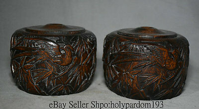 "5.2"" Chinese Redwood Finely Carved Bamboo Pole Bird Go Chess Cans Weiqi Jar Pair"