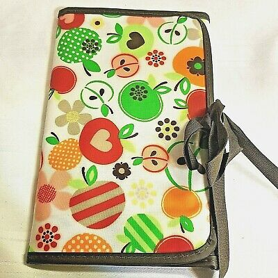 Thirty One Organizer Planner Fold and Go Apple Blossom Red Green Pink NEW