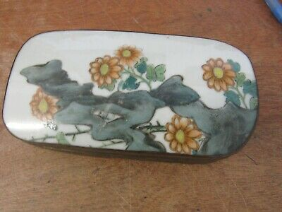 Antique Japanese Silver Plated Box Hand Painted Porcelain