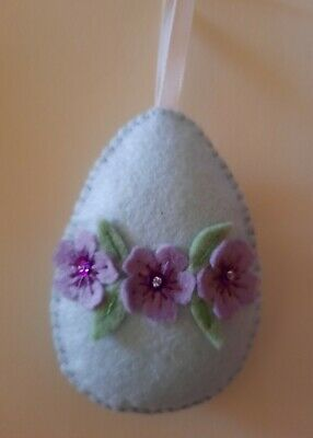Handmade Felt Easter Egg Hanging Decoration (Various Colours Available)