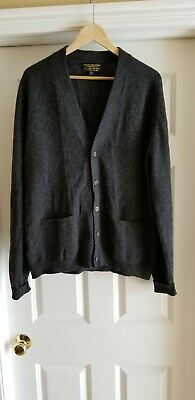 Vintage Brooks Brothers Mens Lambs Wool Gray Cardigan Sweater 44 England Made