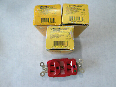 3 New Hubbell HBL8200R Red Duplex Hospital Grade Receptacles 15A 125V Nema 5-15R