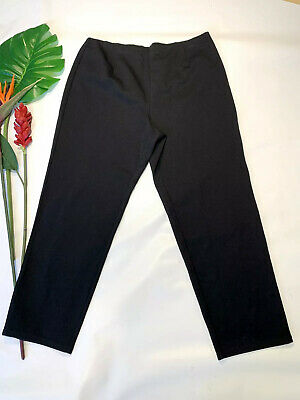Eileen Fisher Women's 2X stretch Ponte slim ankle pants black pull on elastic