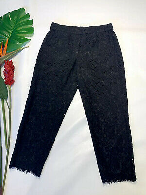 J. Crew Holiday Party Easy Pant Cropped Pants in Black Lace: Size 8