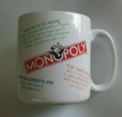 Monopoly Fun Facts Coffee Mugs American Greetings Designers Collection 1984