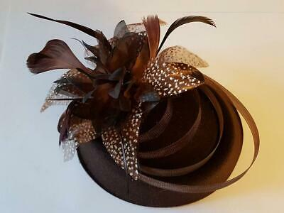 Fascinator, # fascinator Hat felt fascinator. Red,Brown,Black ASCOT hat